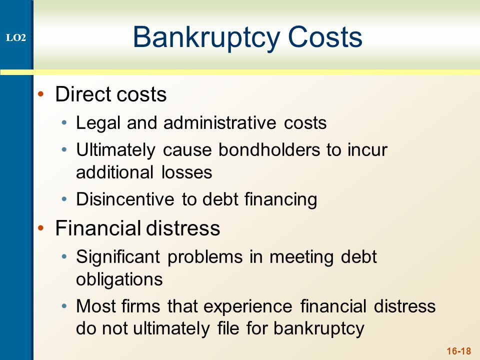 More Bankruptcy Costs Indirect bankruptcy costs