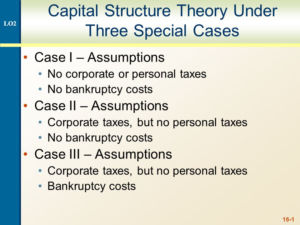 Case I – No Taxes or Bankruptcy Costs