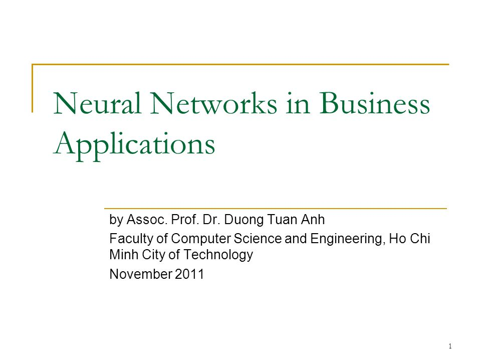Neural Networks in Business Applications