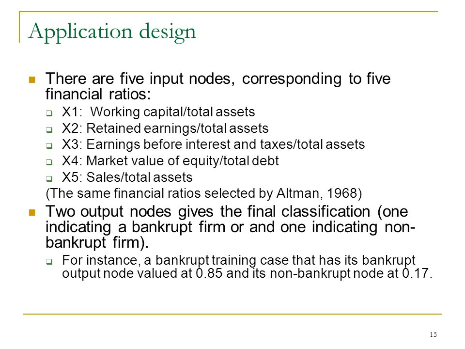 Application design There are five input nodes, corresponding to five financial ratios: X1: Working capital/total assets.
