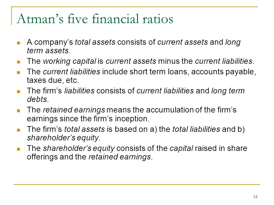 Atman's five financial ratios