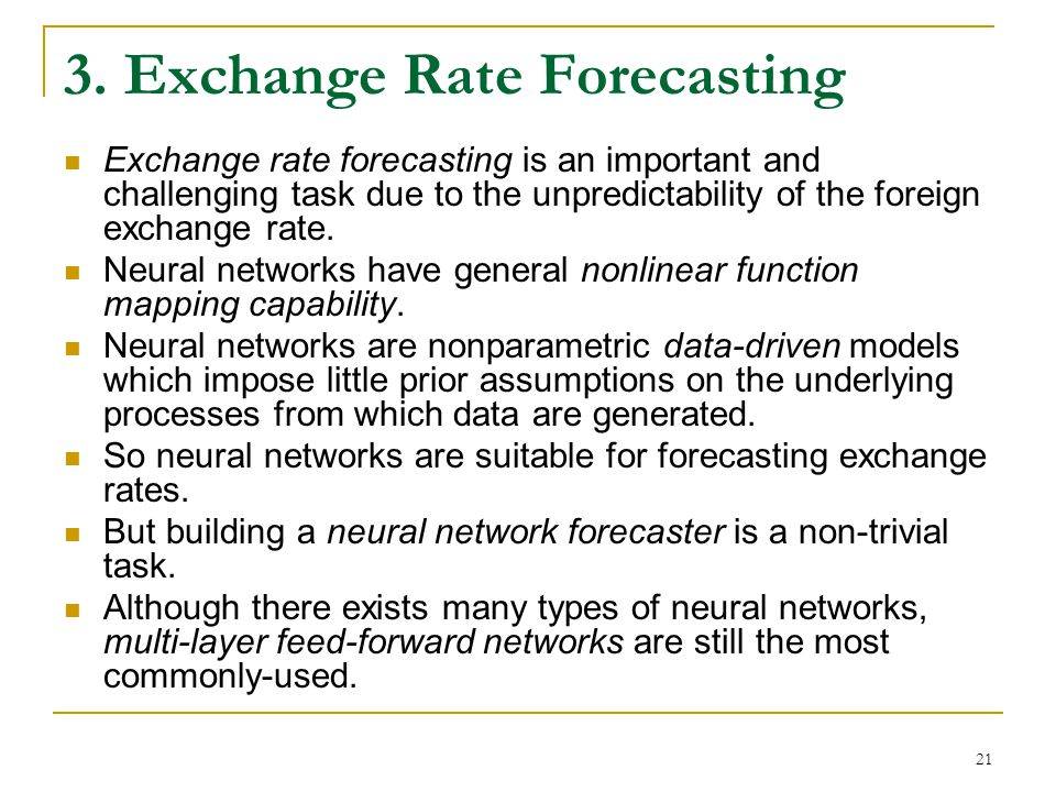 3. Exchange Rate Forecasting