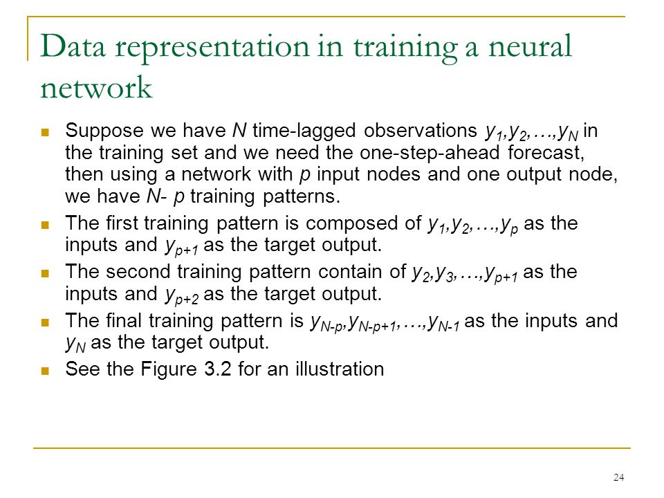 Data representation in training a neural network