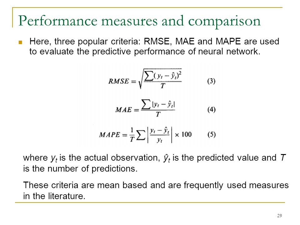 Performance measures and comparison