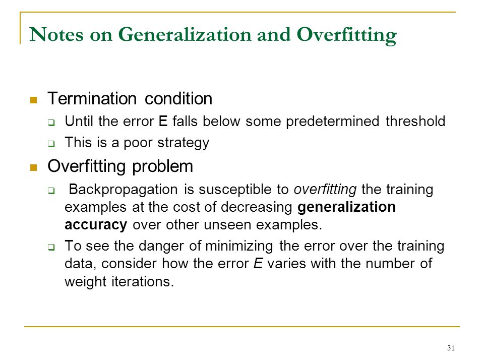 Notes on Generalization and Overfitting