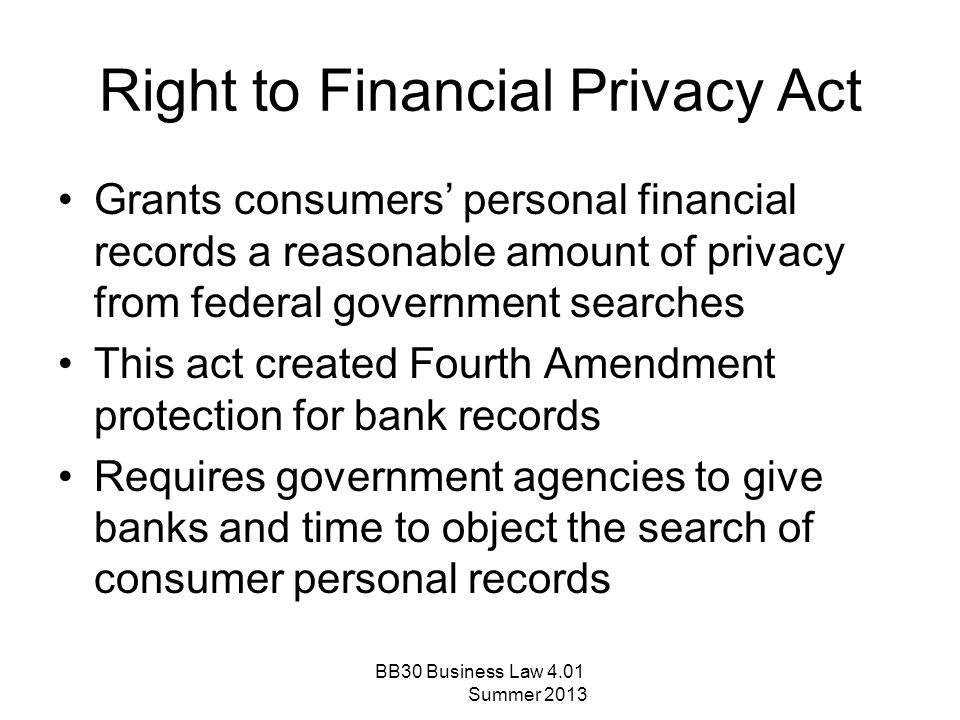Right to Financial Privacy Act