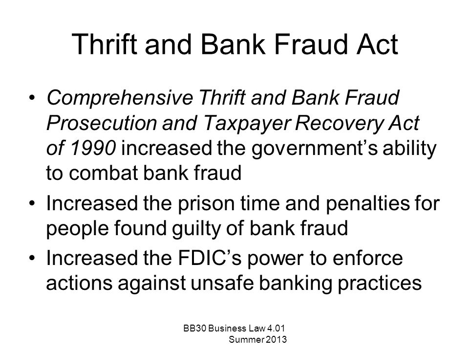 Thrift and Bank Fraud Act