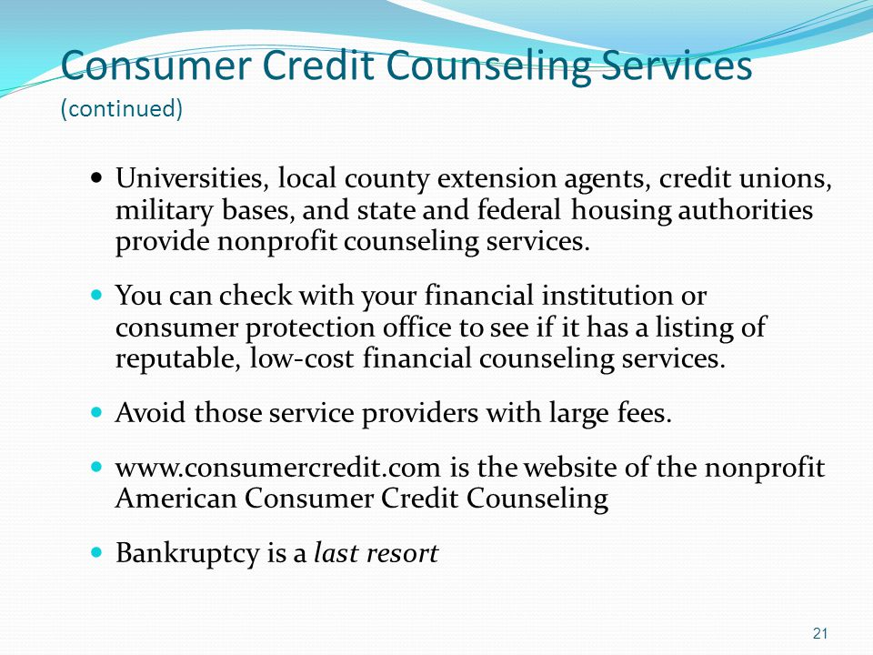Consumer Credit Counseling Services (continued)