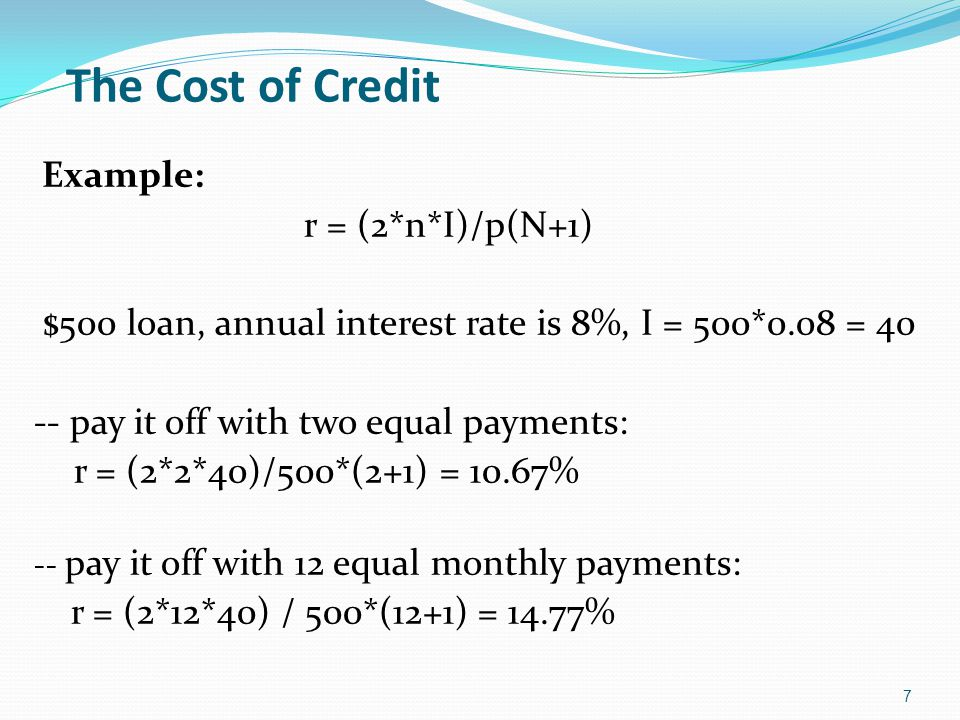 The Cost of Credit Example: r = (2*n*I)/p(N+1)