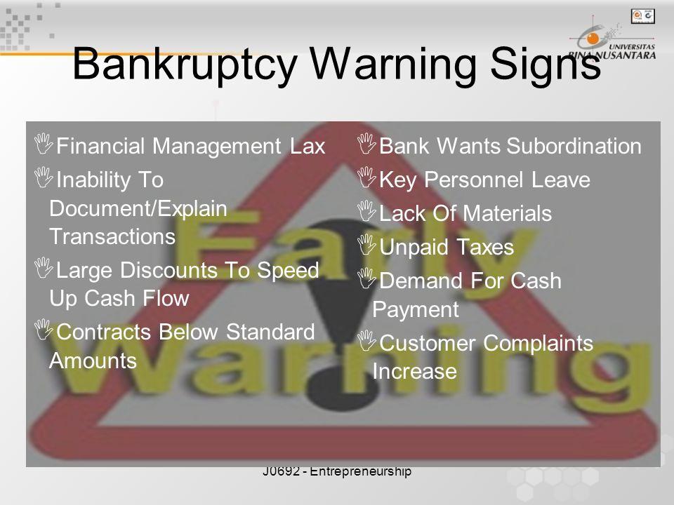 Bankruptcy Warning Signs