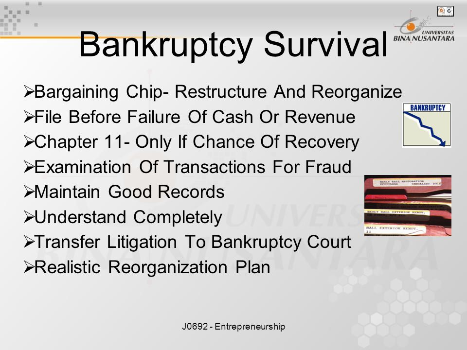 Bankruptcy Survival Bargaining Chip- Restructure And Reorganize
