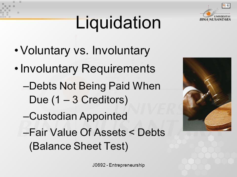 Liquidation Voluntary vs. Involuntary Involuntary Requirements
