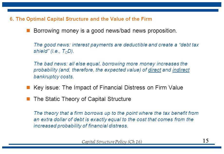 6. The Optimal Capital Structure and the Value of the Firm