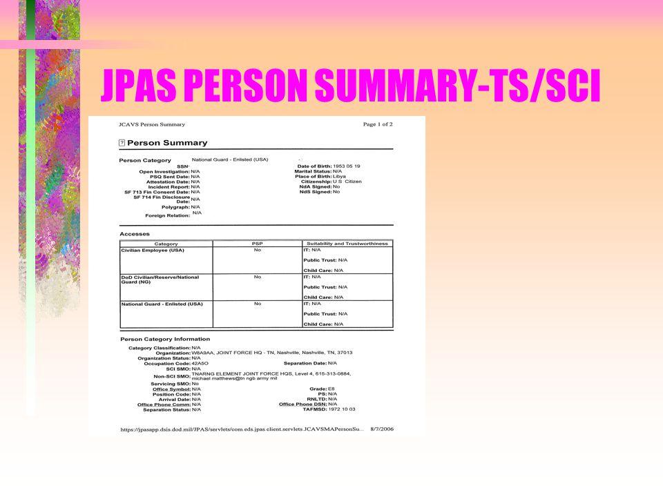 JPAS PERSON SUMMARY-TS/SCI