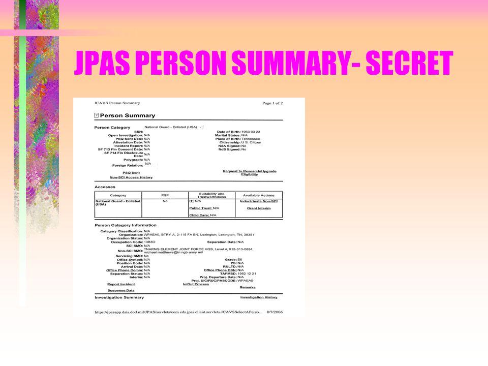 JPAS PERSON SUMMARY- SECRET