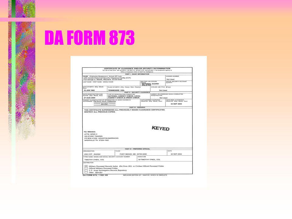 DA FORM 873