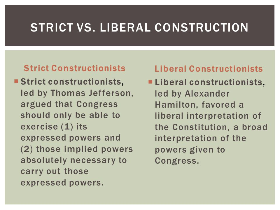 Strict vs. Liberal Construction