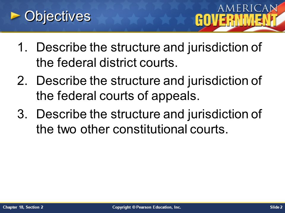 Objectives Describe the structure and jurisdiction of the federal district courts.