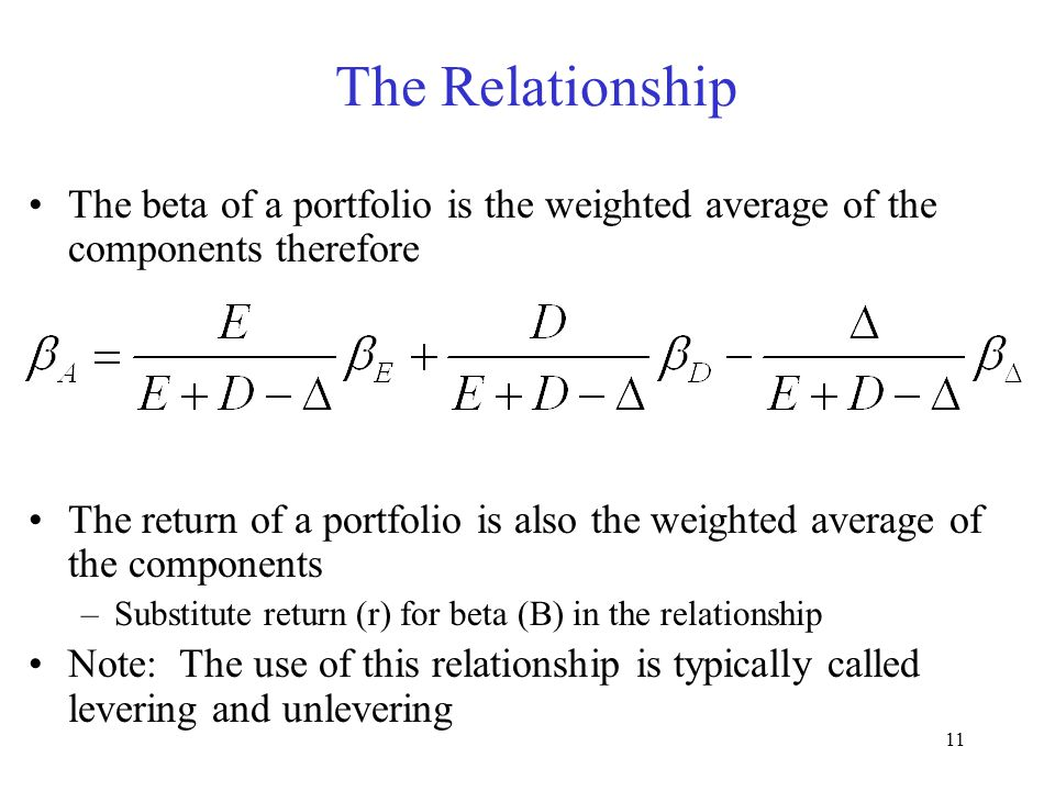 Moeller-Finance The Relationship. The beta of a portfolio is the weighted average of the components therefore.
