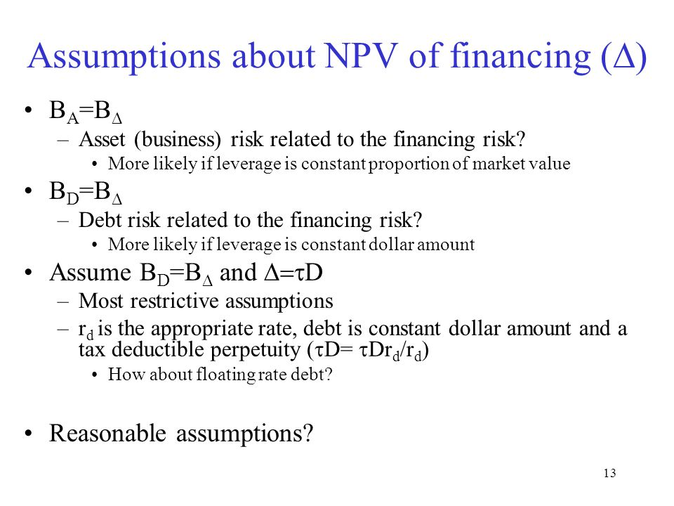 Assumptions about NPV of financing (D)