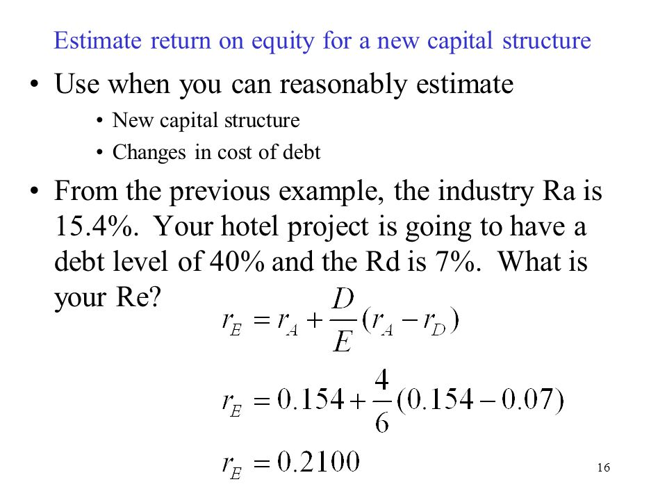Estimate return on equity for a new capital structure