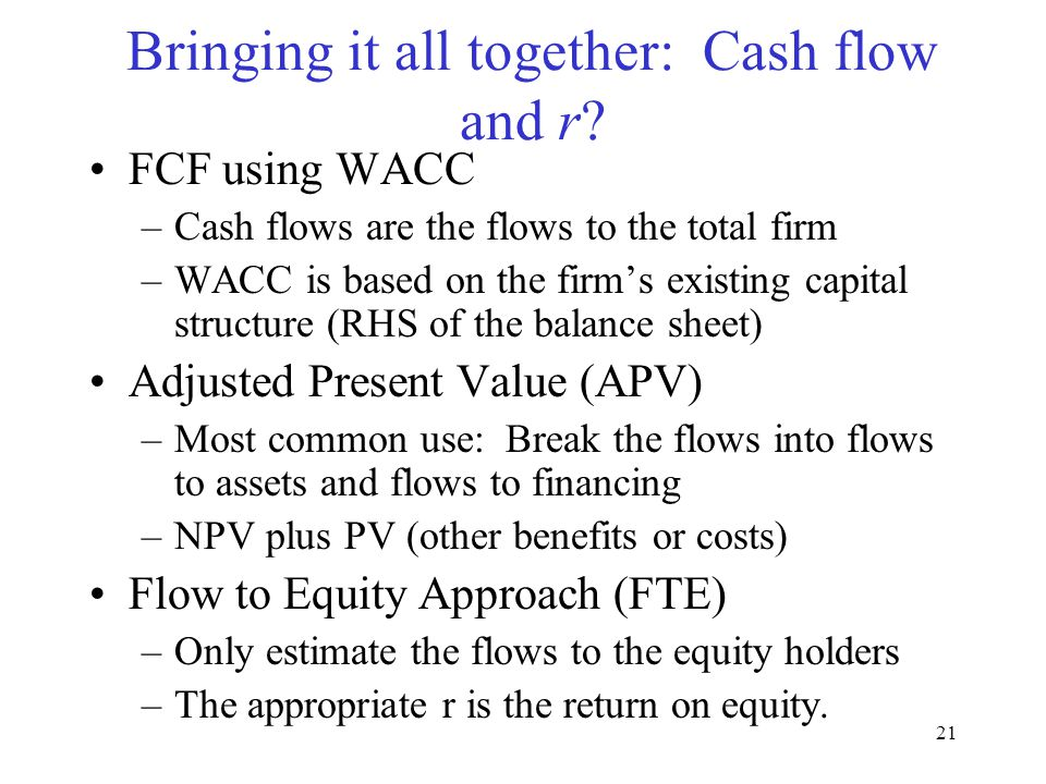 Bringing it all together: Cash flow and r