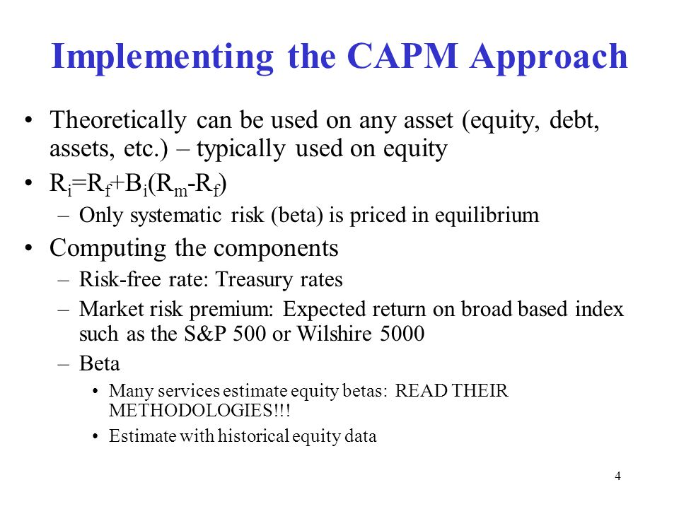 Implementing the CAPM Approach