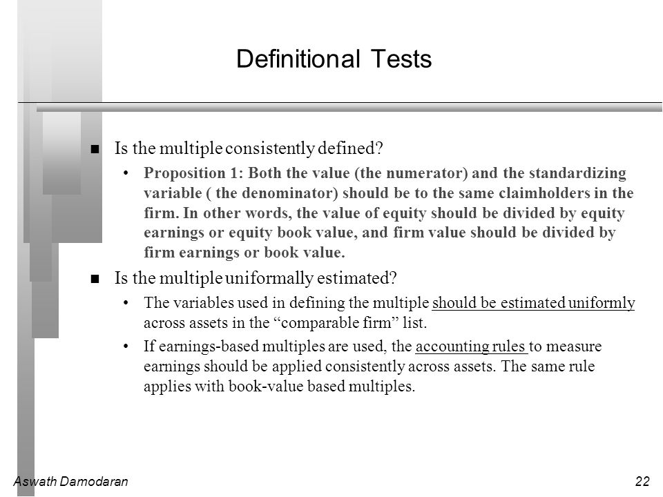 Definitional Tests Is the multiple consistently defined