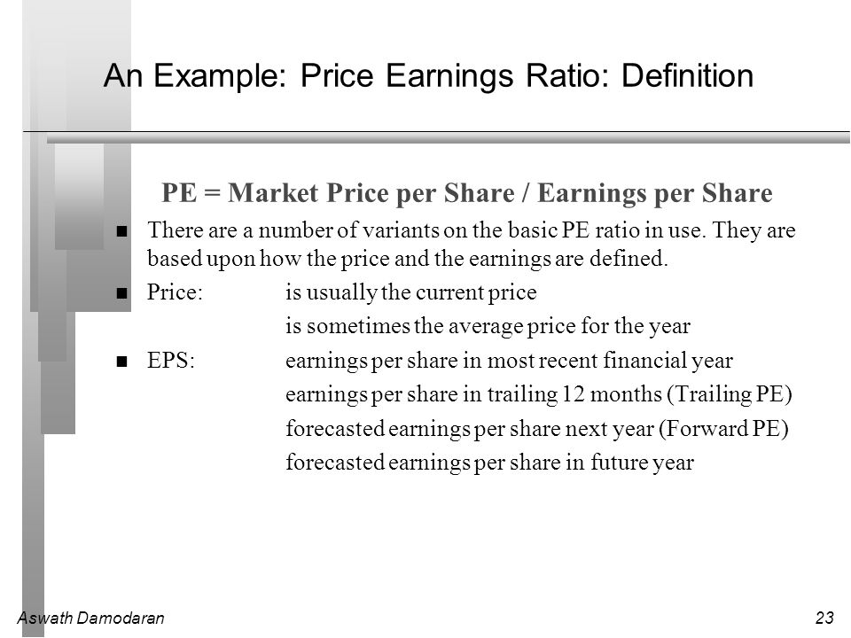 An Example: Price Earnings Ratio: Definition