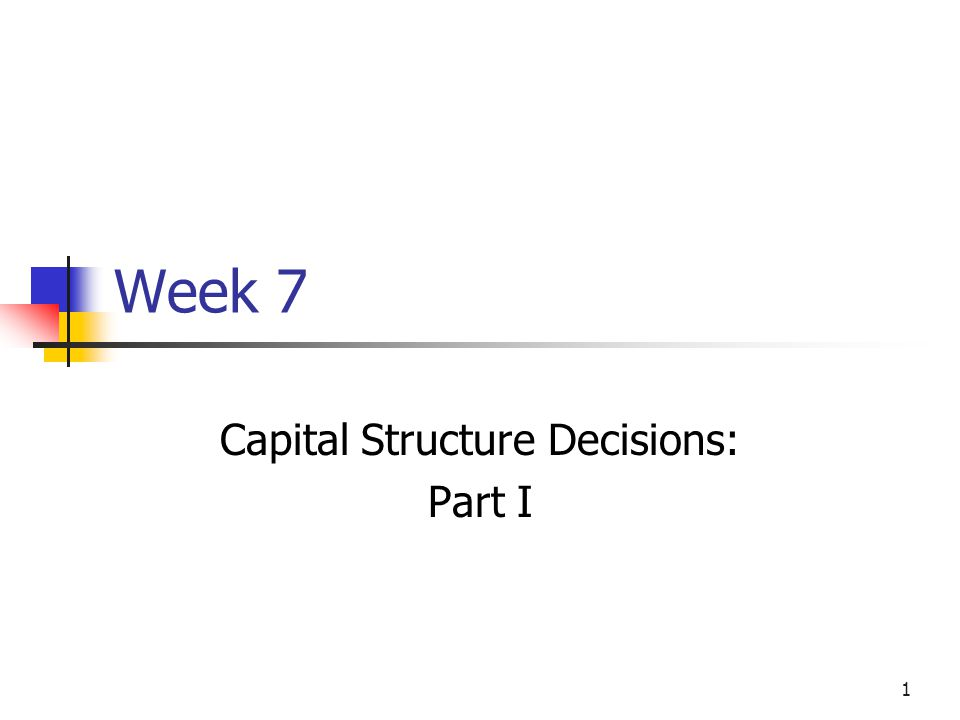 Capital Structure Decisions: Part I