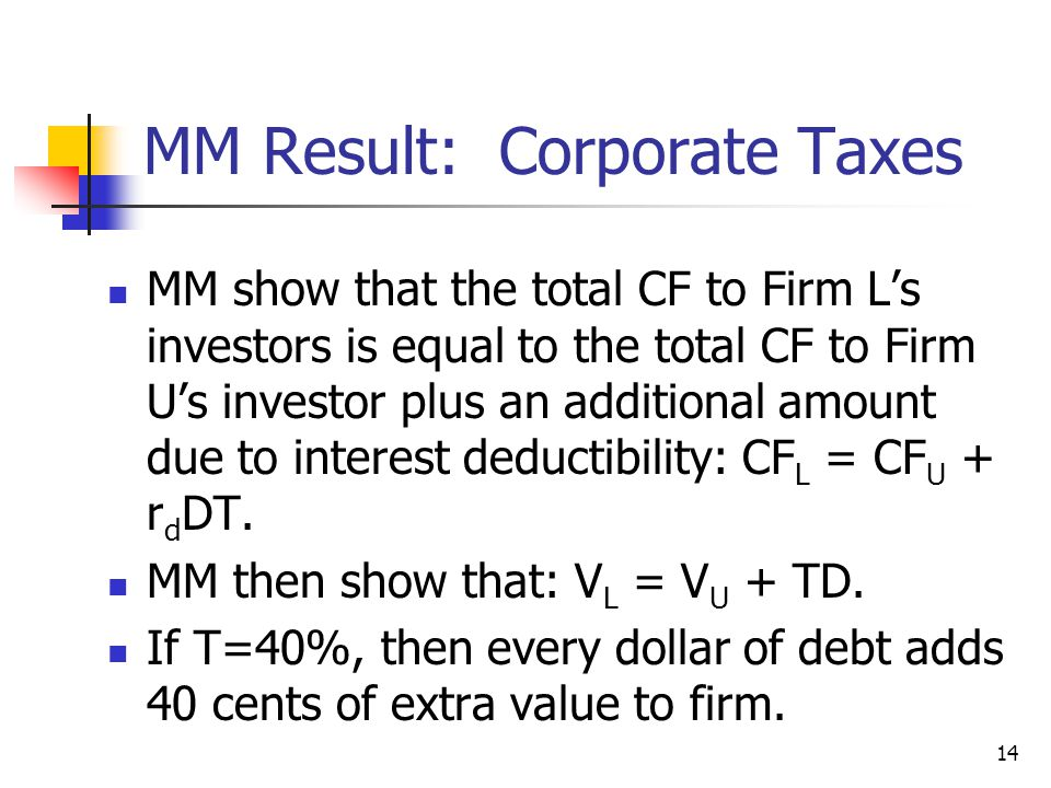 MM Result: Corporate Taxes