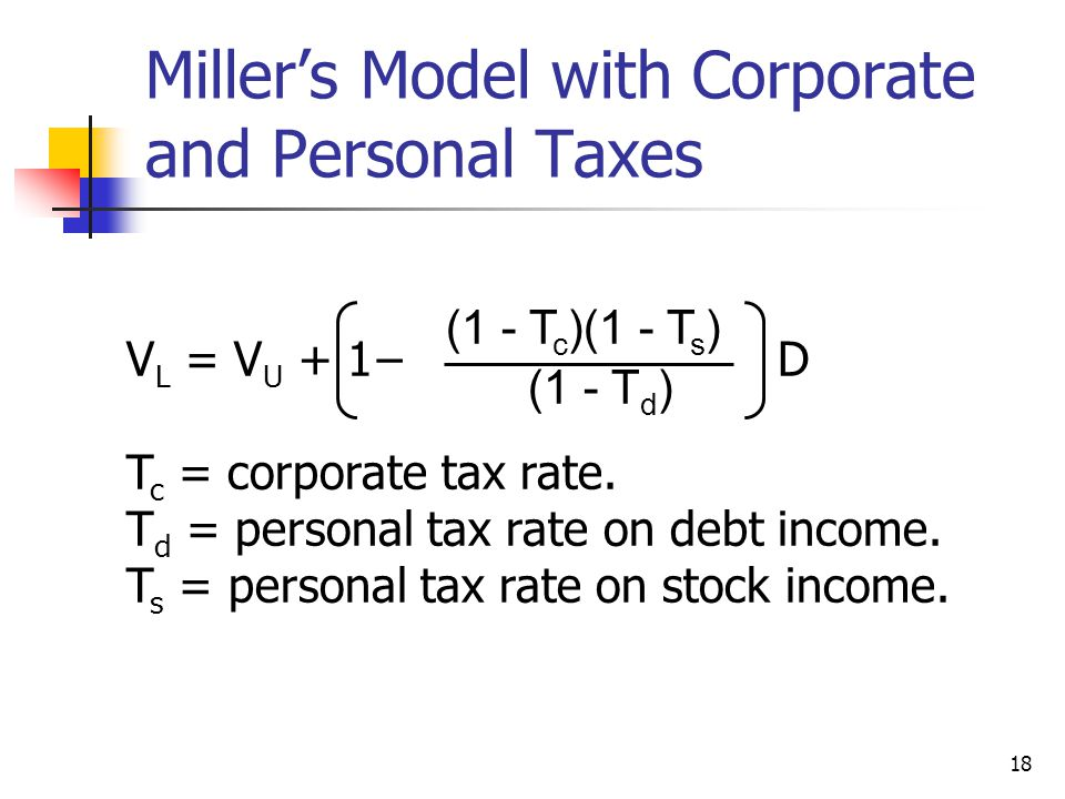 Miller's Model with Corporate and Personal Taxes