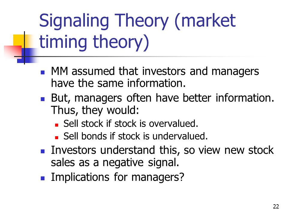 Signaling Theory (market timing theory)