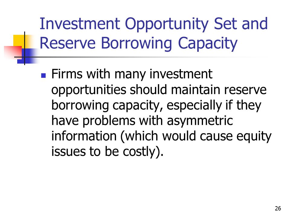 Investment Opportunity Set and Reserve Borrowing Capacity