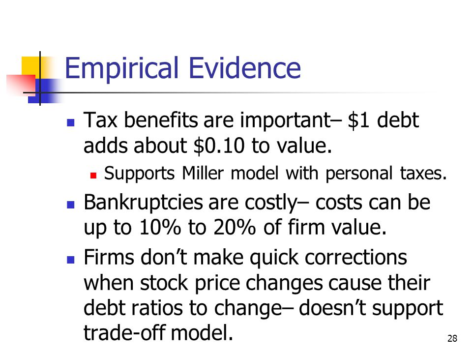 Empirical Evidence Tax benefits are important– $1 debt adds about $0.10 to value. Supports Miller model with personal taxes.