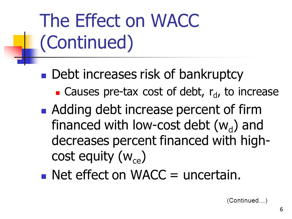 The Effect on WACC (Continued)