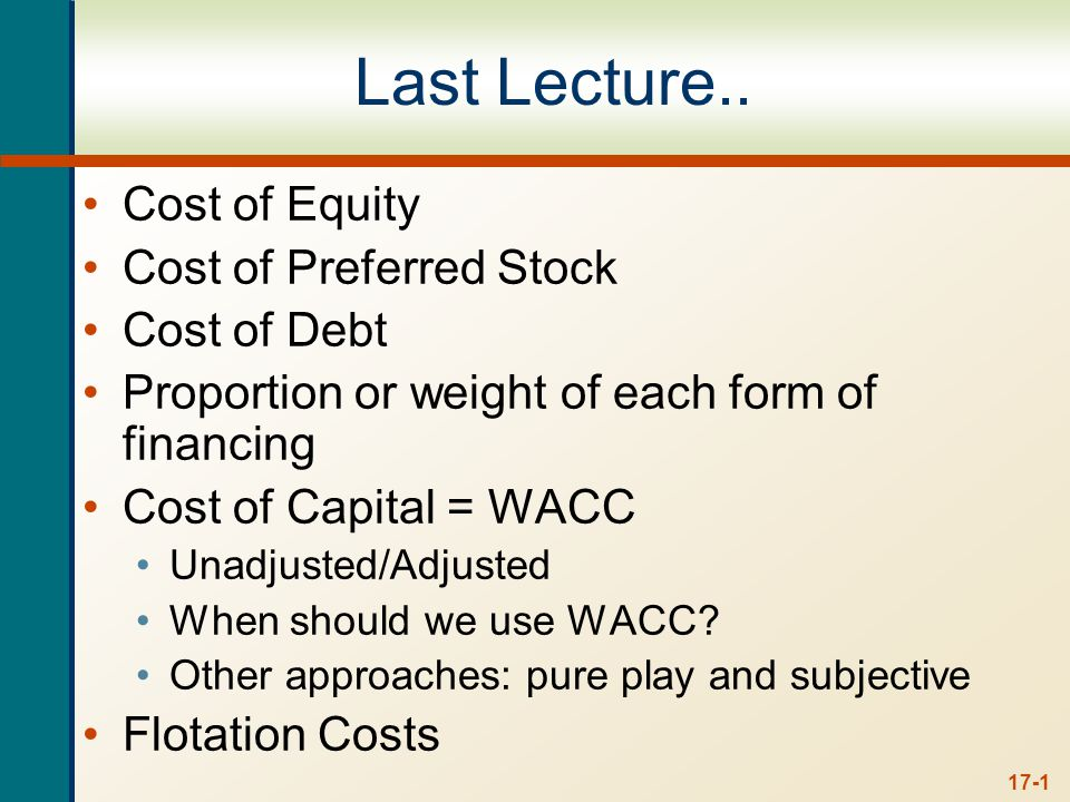 Chapter 17 Outline The Capital Structure Question