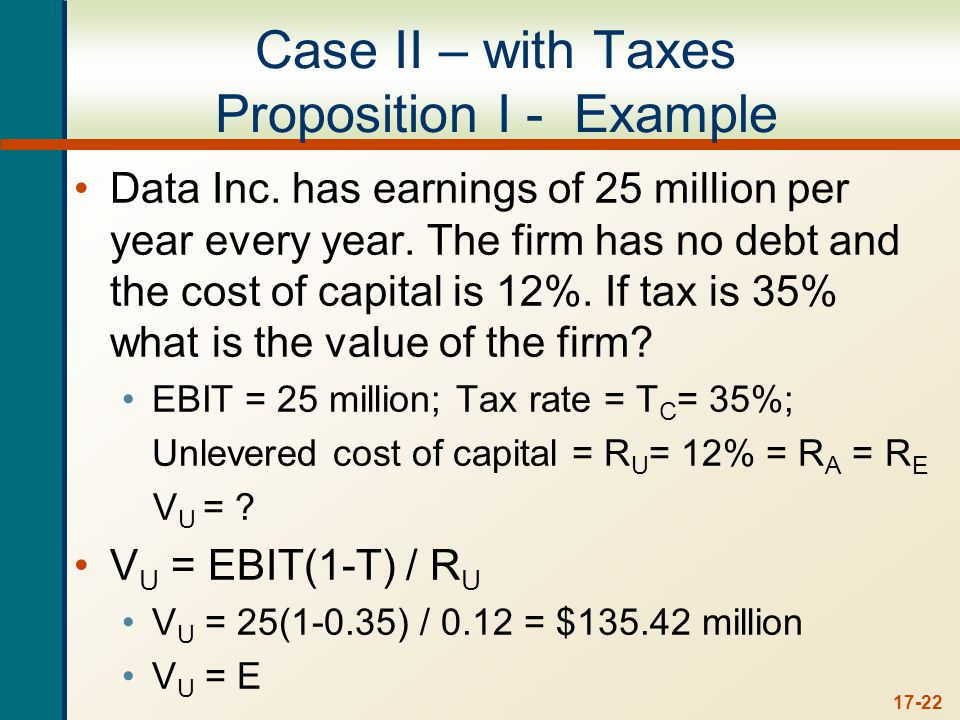 Case II – with Taxes Proposition I - Example (cont.)