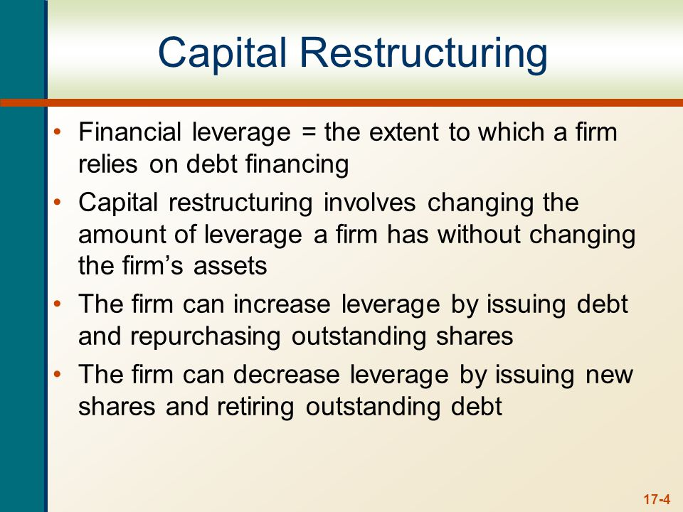 The Effect of Leverage How does leverage affect the EPS and ROE of a firm More debt financing, means more fixed interest expense.