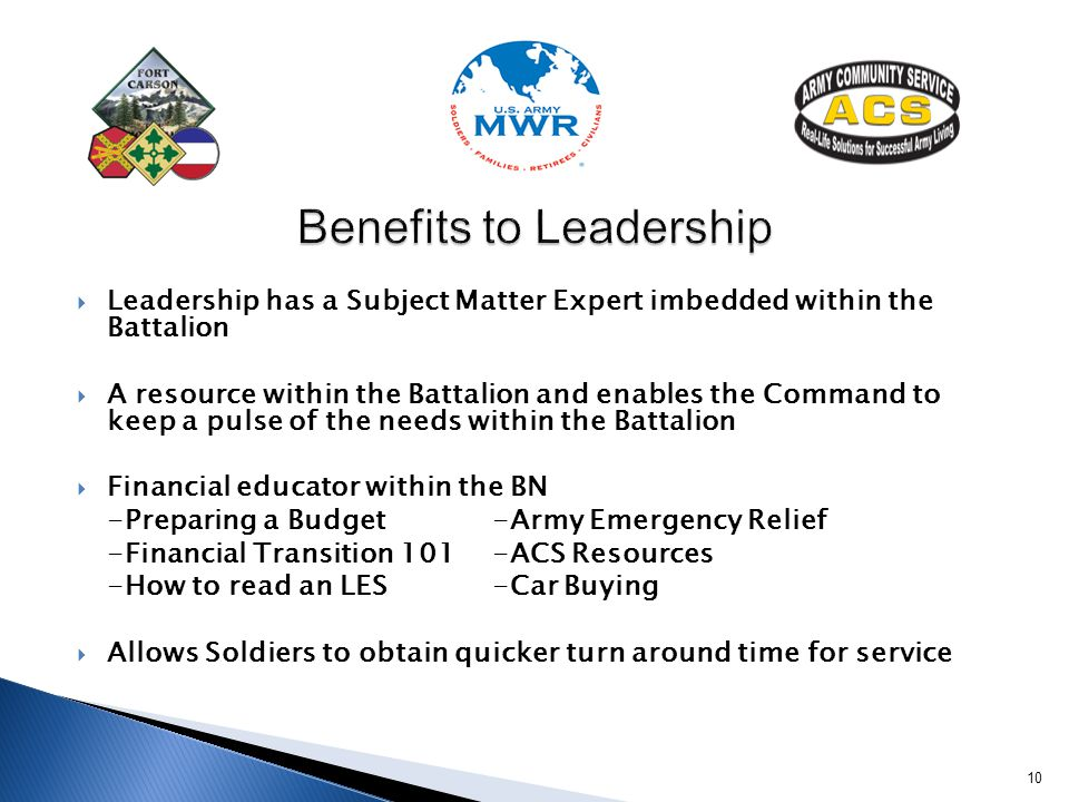 Benefits to Leadership