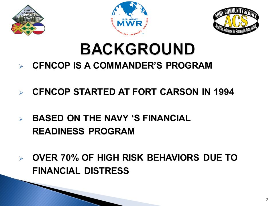 BACKGROUND CFNCOP IS A COMMANDER'S PROGRAM