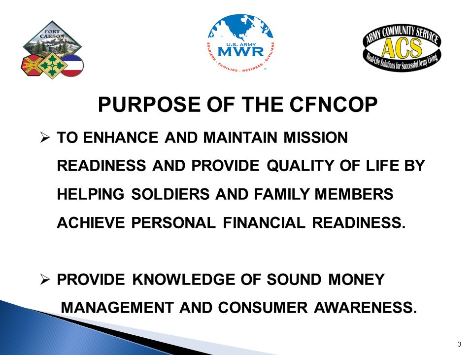 PURPOSE OF THE CFNCOP