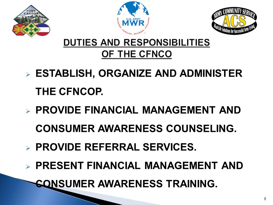DUTIES AND RESPONSIBILITIES OF THE CFNCO