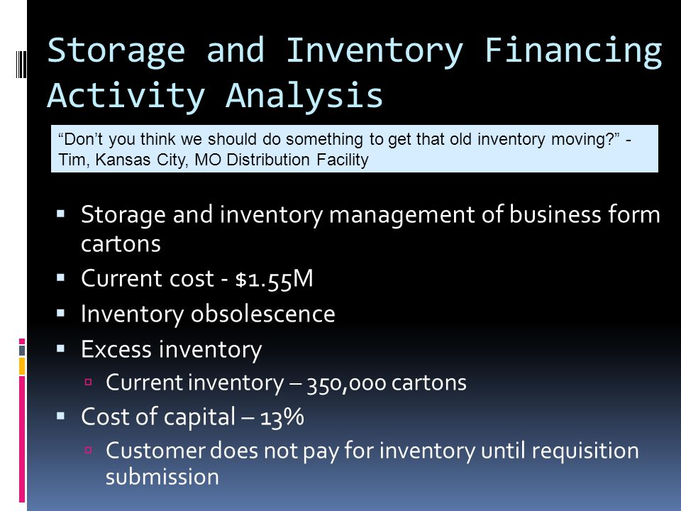Storage and Inventory Financing Activity Analysis