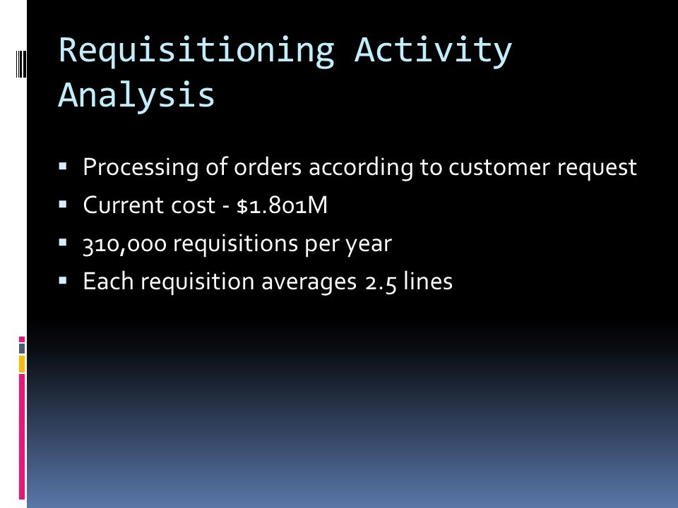 Requisitioning Activity Analysis