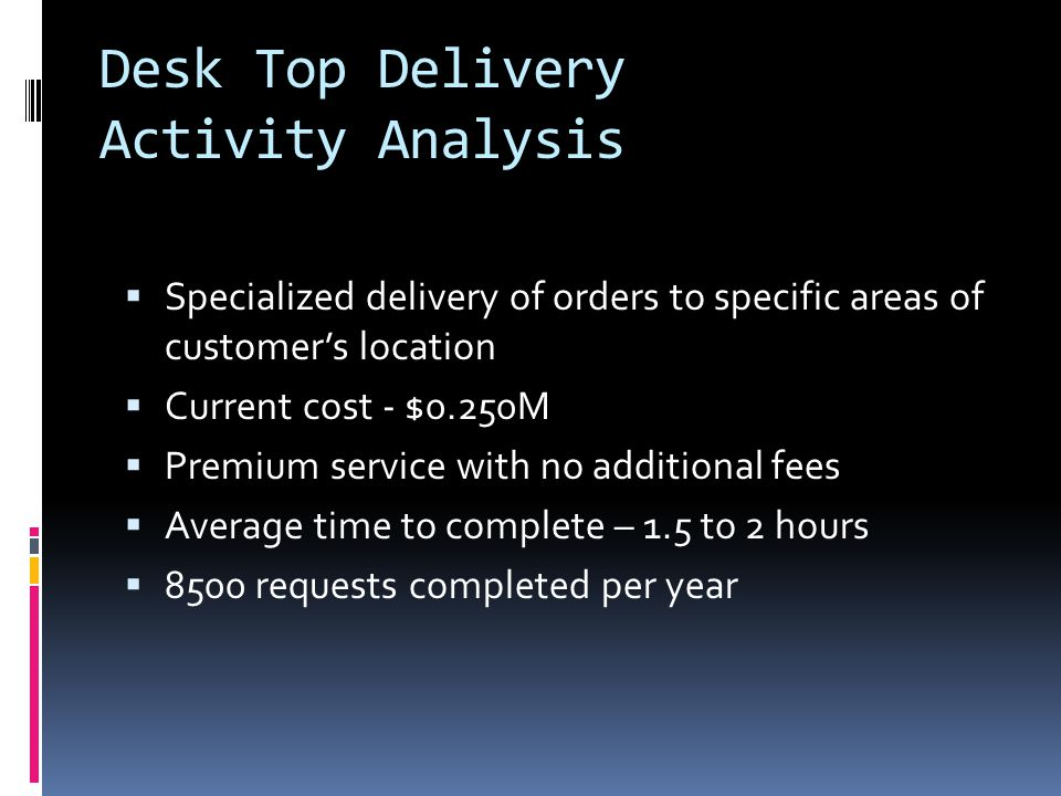 Desk Top Delivery Activity Analysis