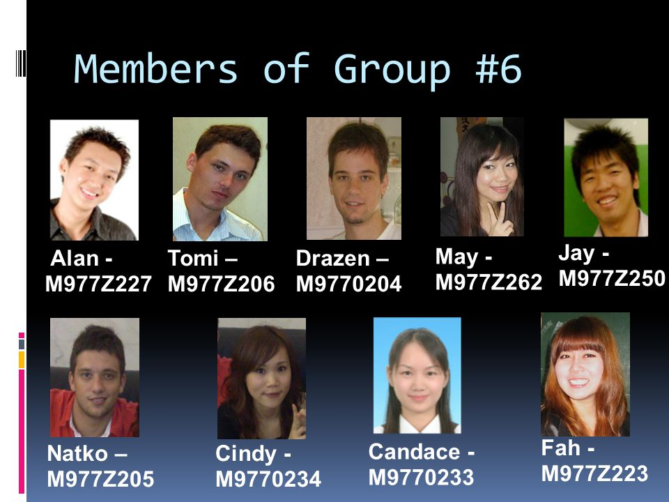 Members of Group #6 Group 1 Members May - M977Z262 Jay - M977Z250