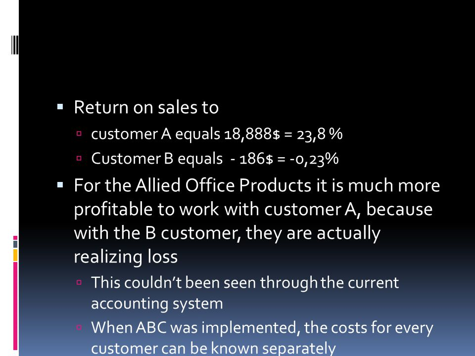 Return on sales to customer A equals 18,888$ = 23,8 % Customer B equals - 186$ = -0,23%