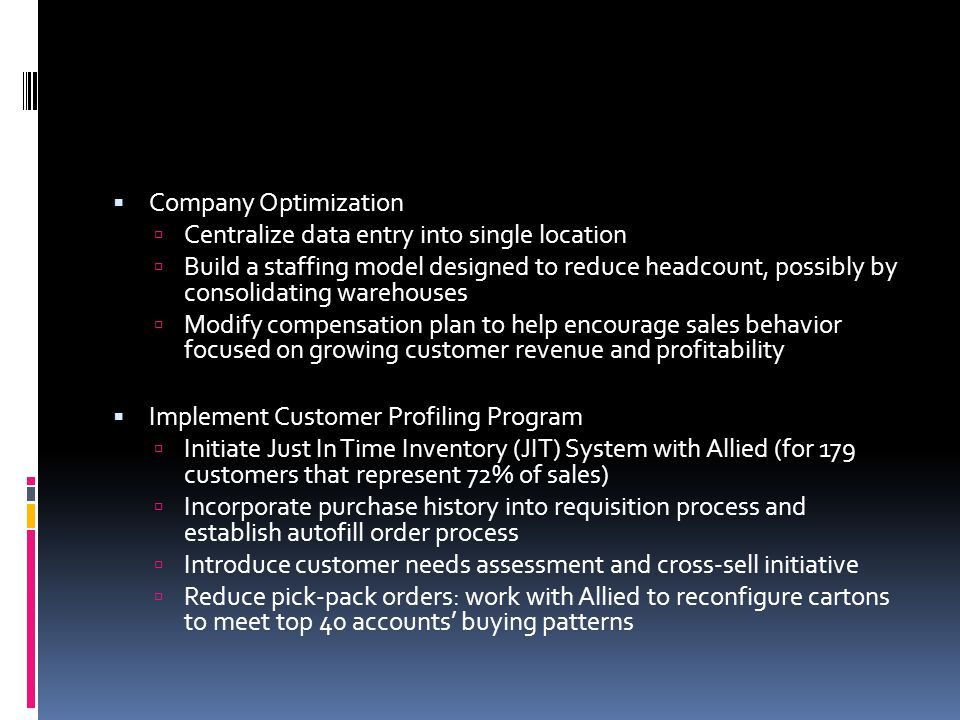 Company Optimization Centralize data entry into single location.