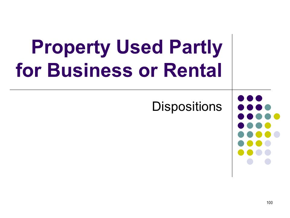 Property Used Partly for Business or Rental